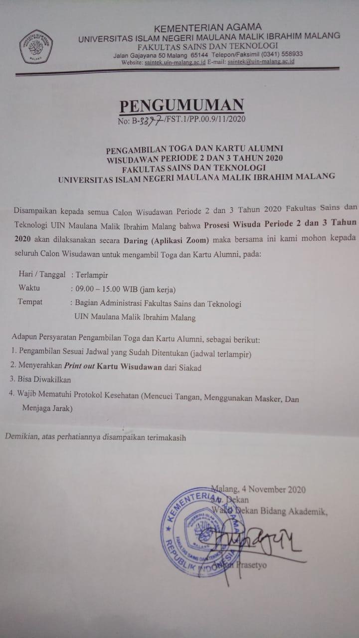 Pengambilan Toga dan Kartu Alumni