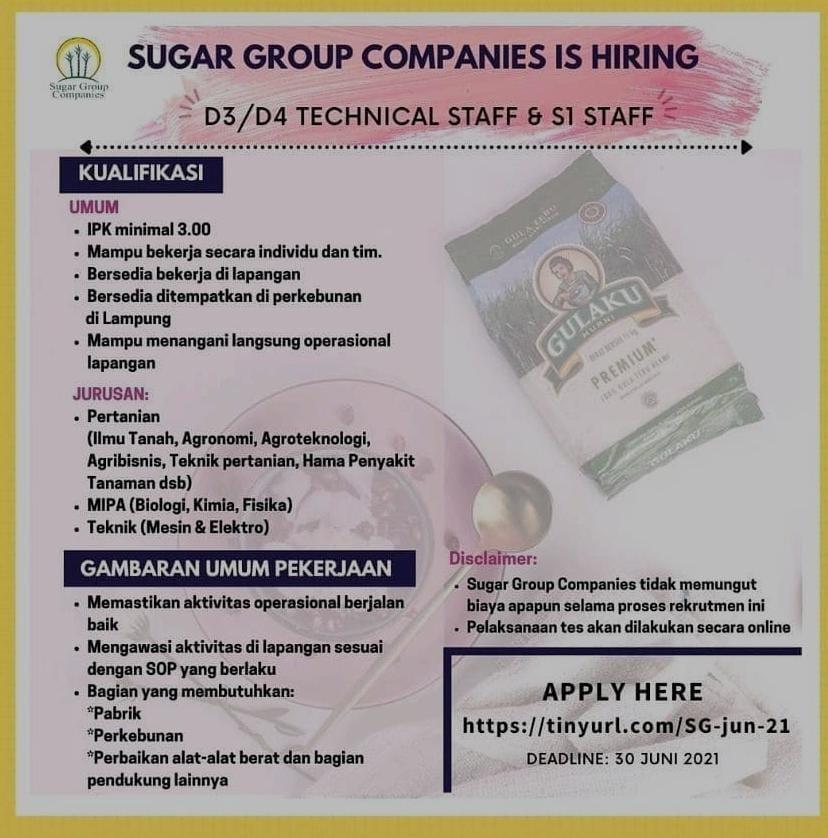 Lowongan Kerja Sugar Group